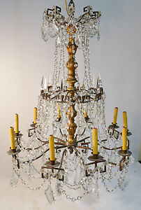 Antique Bronze Crystal Carved Wood Chandelier Circa 1910 Versailles Style