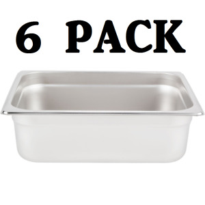 6 Pack Half Size Stainless Steel 4 Deep Steam Prep Table Pan Chafing Dish 1 2