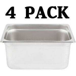 4 Pack Half Size Stainless Steel 6 Deep Steam Table Food Pan Buffet Hotel 1 2