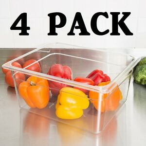 4 Pack Half Size Polycarbonate Clear Plastic 6 Deep Steam Prep Table Pan 1 2