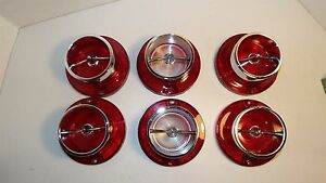 1963 63 Chevrolet Impala New 6 Taillight Back Up Lights With Chrome Gaskets
