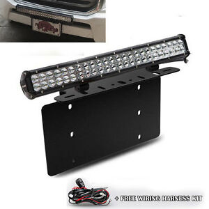 For Chevy Silverado 126w Led Light Bar Usa Front License Plate Mount Bracket
