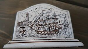 Vintage Scrimshaw Clipper Ship Resin Business Card Holder