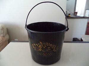Primitive Vintage Toleware Metal Bucket Pail With Handle Painted Stenciled
