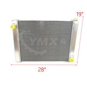 New Aluminum Gm Chevy Universal Racing Radiator 2 Row Single Pass 28 X 19 X3