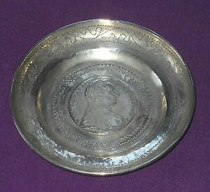 Antique 1780 Austrian Solid Silver Maria Theresa Thaler Coin Dish