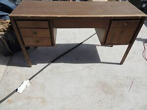 Vintage Office Desk Teacher Tall Multi Drawer Light Wood Local Pickup 51125