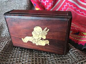 Old Chinese Inlaid Redwood Card Box Beautifully Hand Crafted