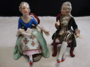 Antique German Hochst Pair Of Couple In Chairs Figurines Miniatures 2 5
