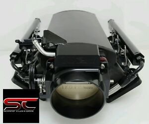 Short Fabricated Black Ls3 Intake Manifold Fuel Rails 102mm Cable Throttle Body