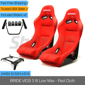 Bride Vios 3 Iii Red Low Max Pair Seats W Slider Side Mount For 240sx S13 S14
