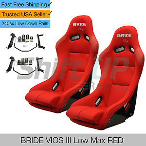 Bride Vios 3 Iii Red Low Max Pair Seats W Low Down Rails For 240sx S13 S14