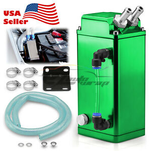 Green Billet Square Aluminum Engine Oil Catch Tank Can Reservoir Breather Kit 2