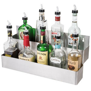 22 Stainless Steel Double Tier Commercial Bar Speed Rail Liquor Display Rack