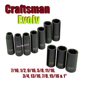 Craftsman Evolv Deep Impact Socket Set 1 2 Inch Drive 10 Pc Metic New