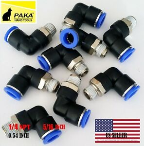 10x Pneumatic Male Elbow Connector Tube Od 5 16 8mm X Npt 1 4 Pu Air Push In