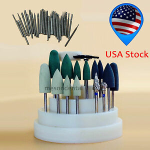 47pcs Dental Lab Silicone Rubber Rotary Tungsten Steel Polishing Burs 2 35mm Usf