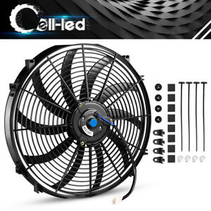 New 1x16 Inch Push Electric Cooling Radiator Fan Engien Reversible Kits 3000cfm