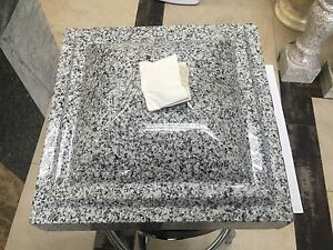 Natural Stone Granite Curve Cap Base Sesame White 14 x14 x5