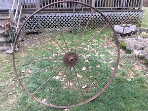 Primitive Metal Wagon Wheel Large Over 50 Inch Diameter 16 Spokes
