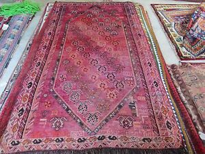 5ftx8ft Antique Abrash Persian Rug Beautiful Pink Hues Qashqai Signed