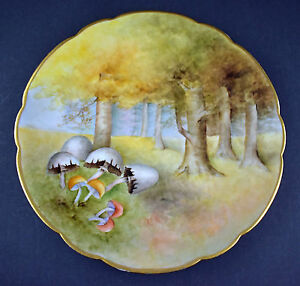 Antique D C Limoges Handpainted Rare Large 12 5 Charger Cabinet Plate Signed