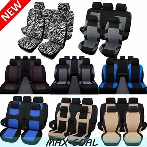 Car Seat Covers Black blue red gray Polyester Cloth Front rear Bench Full Set Mg