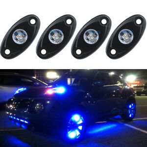 4pcs Aluminum 9w Bright Blue Led Rock Lights Accent Under Car Body For Jeep