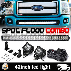 42 240w Straight Led Light Bar Remote Kit For 11 16 Ford F250 F350 Super Duty
