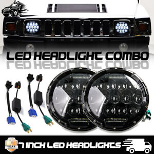 Pair Dot Universal 7 Inch Round 75w Led Headlight Lamp For Jeep Wrangler Hummer