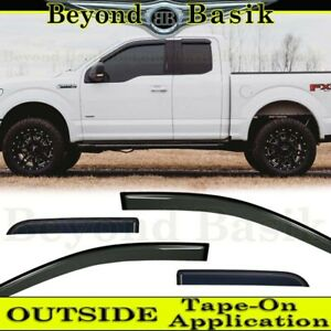 2015 2019 Ford F150 Ext Supercab 4pc Smoke Door Vent Window Visors Rain Guards