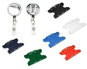Heavy Duty Retractable Reel With Double Sided Id Card Holder Badge Pass Holder