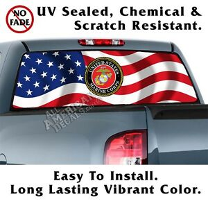 Wavy Us Flag Us Marines Back Window Graphic Perforated Film Decal Truck Decal
