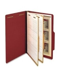 Sj Paper Pressboard Classification Folders Legal Size 6 Fasteners Red