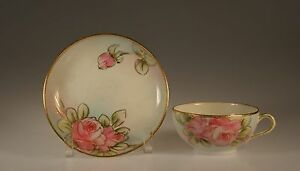 Nippon Early Handpainted Pink Roses Tea Cup And Saucer Unknown Maker C 1900 10