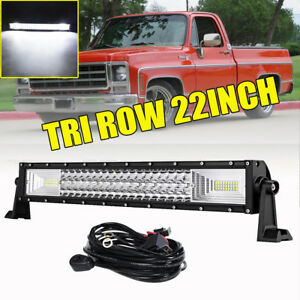 Tri Row 22inch 1296w Led Light Bar Combo Offroad Driving Fog Lamp Pickup 24 20
