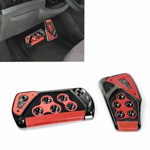 2x Red Voltage Racing Sports Non Slip Automatic Car Gas Brake Pedals Pad Cover
