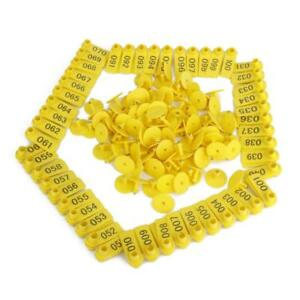 100x Livestock Marking Ear Tag Number 1 100 For Sheep Goat Identify Yellow