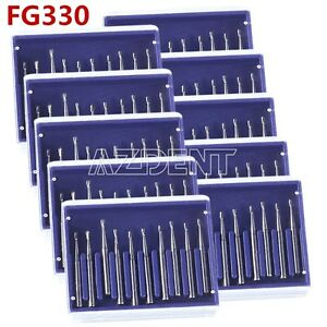 10x Dental Carbide Burs Pear shaped Type High Speed Tungsten Steel Bur Fg330