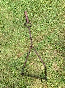 Antique Primitive Style Wrought Iron Ornate Design Red Wood Handle Weed Whacker