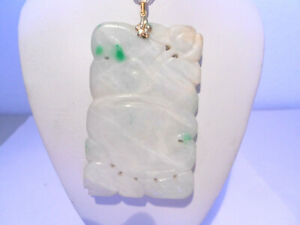 Carved Antiques White Green Jade Pendant 14kt Gold Without Chain