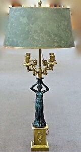 Neoclassical Style Figural 4 Arm Candlelabra 2 Bulb Table Mantle Lamp Nyc 1940