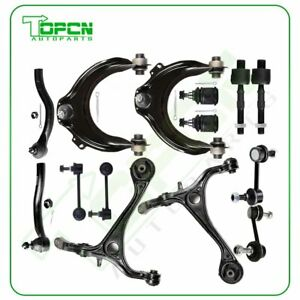 14pcs For 2003 2006 07 Honda Accord Lower Upper Control Arms Tie Rods Suspension