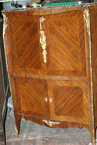 Antique French Lxv Style Bronze Decorations Marble Top 19th C Cabinet