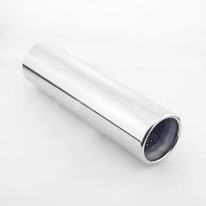 Stainless Steel 3 Id Exhaust Tip 3 15 Out Round Resonated Rolled Straight Cut