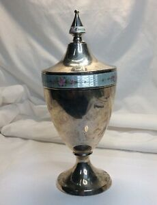 Vintage Sterling Enamel Chalice Gold Wash Inside With Lid S42