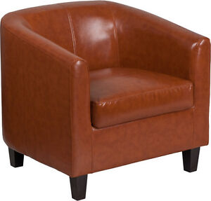 Cognac Leathersoft Barrel Shaped Office Guest Reception Chair Lounge Chair