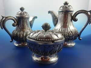 850 Silver Teapot Sugar Bowl Creamer Set With Covers By Ihs
