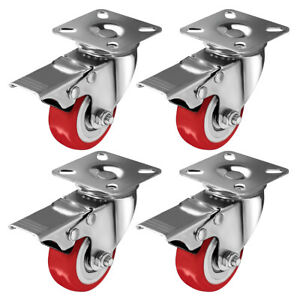 4 Pack Caster Wheels Swivel Plate On Red Polyurethane Wheels