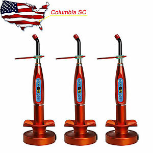 Usa 3pcs Dental Wireless Cordless Led Curing Light Cure Lamp Dentist Orange